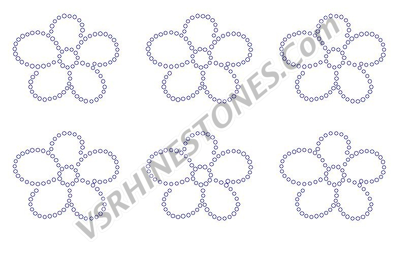 Flower Mini Rhinestone Transfers (6)
